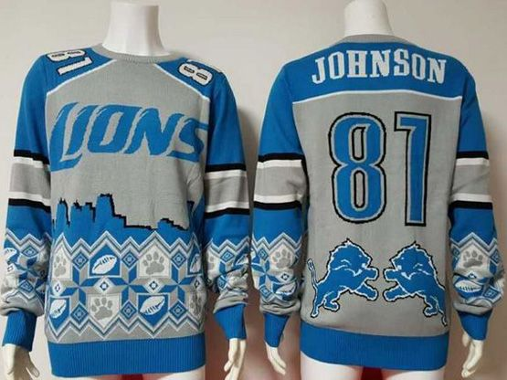 Mens Nfl Detroit Lions #81 Johnson Blue Crew Neck Pullover Ugly Sweater