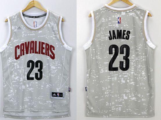 Mens Nba Cleveland Cavaliers #23 Lebron James Gray Sun Version Jersey