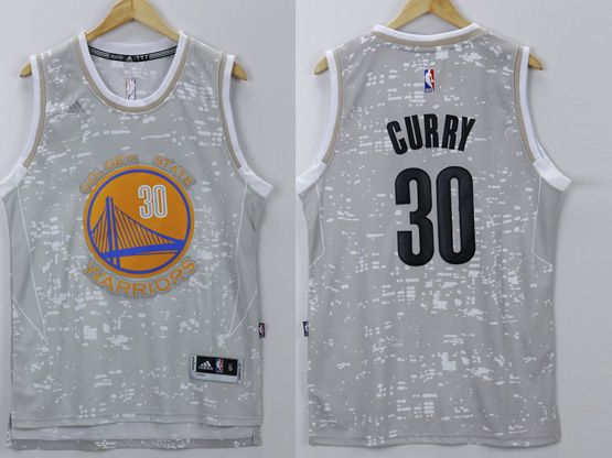 Mens Nba Golden State Warriors #30 Curry Gray Sun Version Jersey