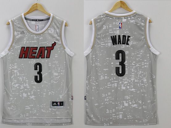 Mens Nba Miami Heat #3 Wade Bryant Gray Sun Version Jersey