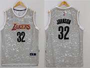 Mens Nba Los Angeles Lakers #32 Johnson Gray Sun Version Jersey