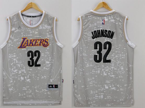 Mens Nba Los Angeles Lakers #32 Johnson Gray Sun Version Jersey