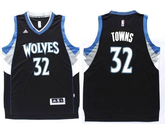 Mens Nba Minnesota Timberwolves #32 Towns Black Revolution 30 Jersey (p)