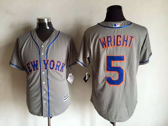 Mens Mlb New York Mets #5 Wright Gray Jersey