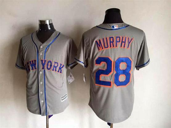 Mens Mlb New York Mets #28 Murphy Gray Jersey