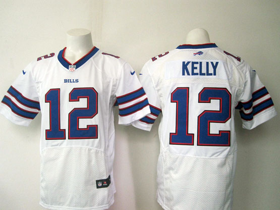 mens nfl Buffalo Bills #12 Jim Kelly white elite jersey