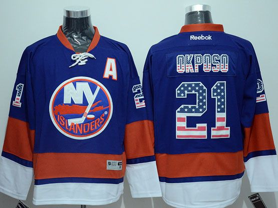 Mens reebok nhl new york islanders #21 okposo blue usa flag fashion Jersey