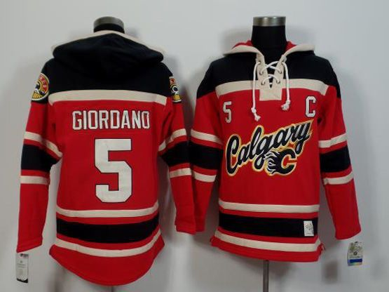 Mens Nhl Calgary Flames #5 Giordano Red (team Hoodie) Jersey