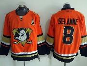 Mens Reebok Nhl Anaheim Mighty Ducks #8 Selanne Orange (2015 New) Jersey