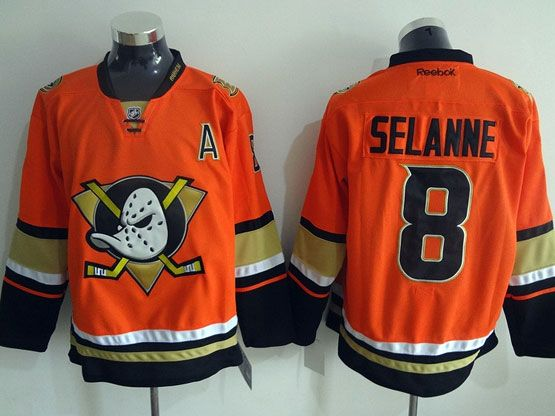 Mens Reebok Nhl Anaheim Mighty Ducks #8 Selanne Orange (2015 New) Jersey