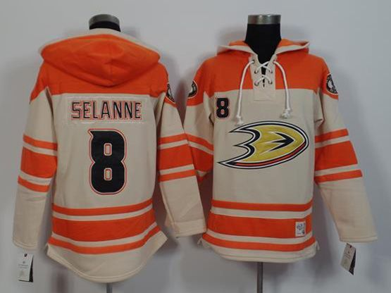 Mens Nhl Anaheim Mighty Ducks #8 Selanne White&orange (team Hoodie) Jersey