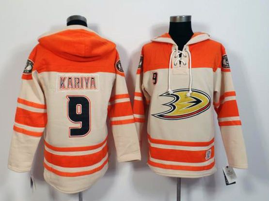 Mens Nhl Anaheim Mighty Ducks #9 Kariya White&orange (team Hoodie) Jersey
