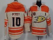 Mens Nhl Anaheim Mighty Ducks #10 Perry White&orange (team Hoodie) Jersey