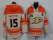 Mens Nhl Anaheim Mighty Ducks #15 Getzlaf White&orange (team Hoodie) Jersey