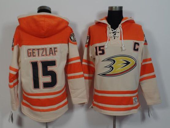 Mens Nhl Anaheim Mighty Ducks #15 Getzlaf White&orange (team Hoodie) Jersey