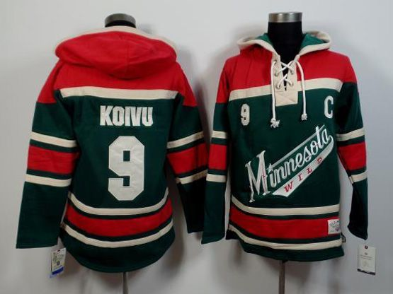 Mens Reebok Nhl Minnesota Wild #9 Koivu Green&red (team Hoodie) Jersey