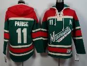 Mens Reebok Nhl Minnesota Wild #11 Parise Green&red (team Hoodie) Jersey