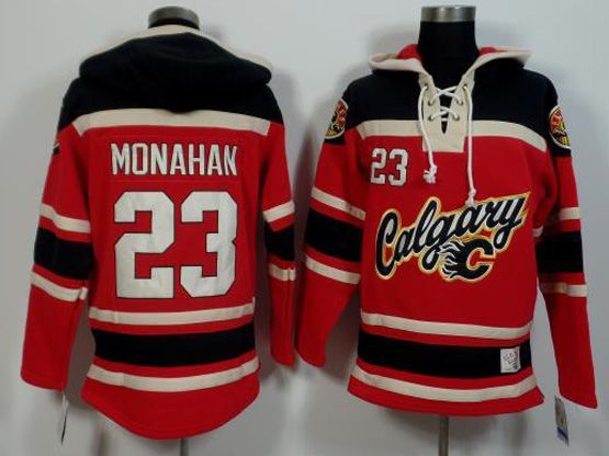 Mens Nhl Calgary Flames #23 Monahan Red (team Hoodie) Jersey