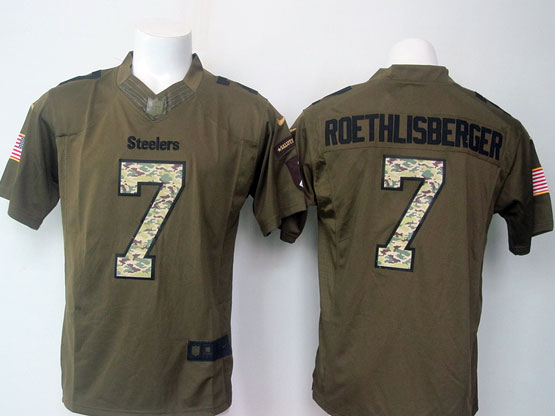 Mens Nfl Pittsburgh Steelers #7 Roethlisberger Green Salute To Service Limited Jersey