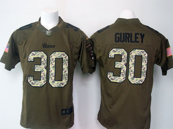 Mens Nike Los Angeles Rams #30 Todd Gurley Green Salute To Service Limited Jersey