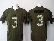 mens nfl Tampa Bay Buccaneers #3 Jameis Winston green salute to service limited jersey