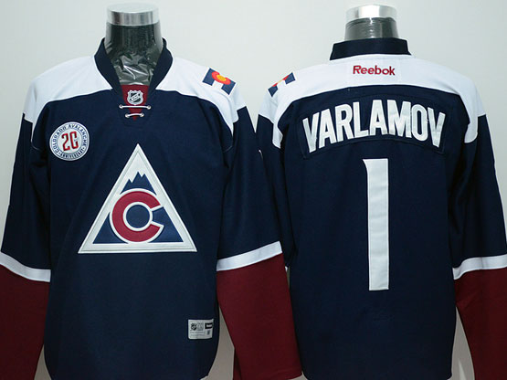 Mens Reebok Nhl Colorado Avalanche #1 Varlamov Blue (2015) Jersey