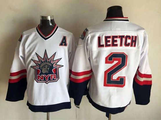 Mens Nhl New York Rangers #2 Leetch White (logo Patch) Throwbacks Jersey