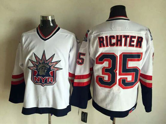 Mens Nhl New York Rangers #35 Richter White (logo Patch) Throwbacks Jersey