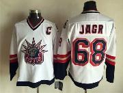 Mens Nhl New York Rangers #68 Jagr White (logo Patch) Throwbacks Jersey