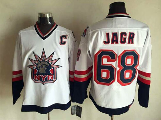 Mens Nhl New York Rangers #68 Jagr White (logo Patch) Throwbacks Jersey