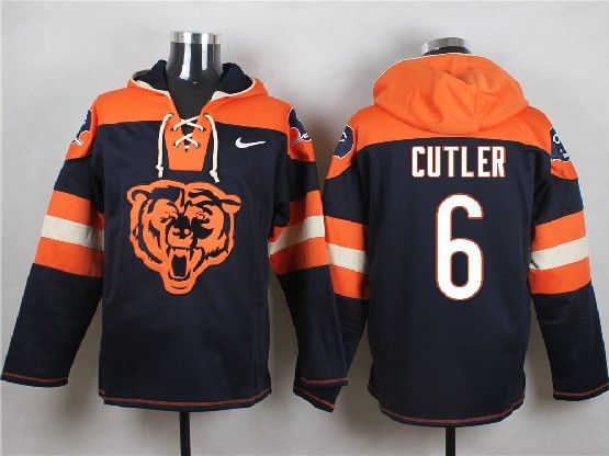 Mens Nfl Chicago Bears #6 Cutler Blue (new Single Color) Hoodie Jersey