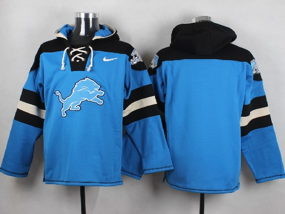 Mens Nfl Detroit Lions (blank) Blue (new Single Color) Hoodie Jersey