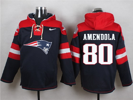 Mens Nfl New England Patriots #80 Amendola Blue (new Single Color) Hoodie Jersey