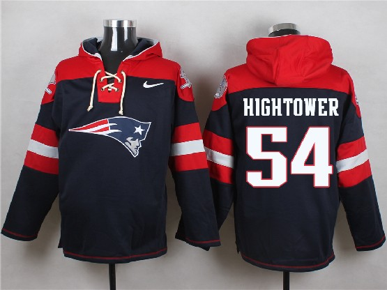 Mens Nfl New England Patriots #54 Hightower Blue (new Single Color) Hoodie Jersey