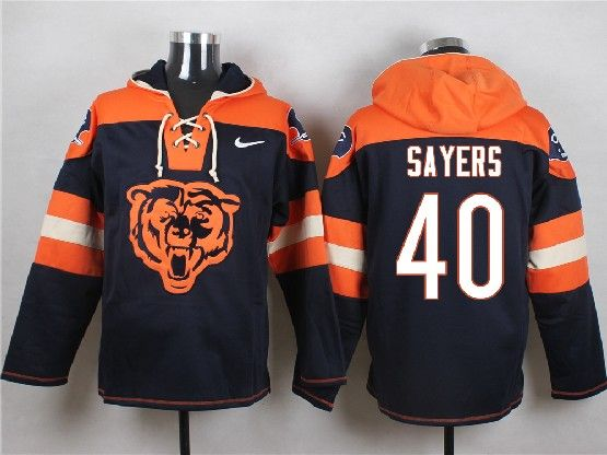 Mens Nfl Chicago Bears #40 Sayers Blue (new Single Color) Hoodie Jersey