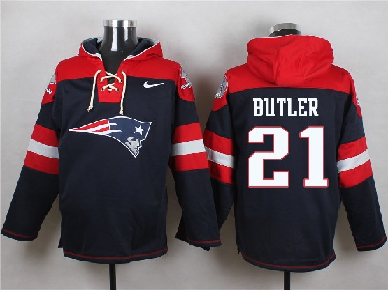 Mens Nfl New England Patriots #21 Butler Blue (new Single Color) Hoodie Jersey