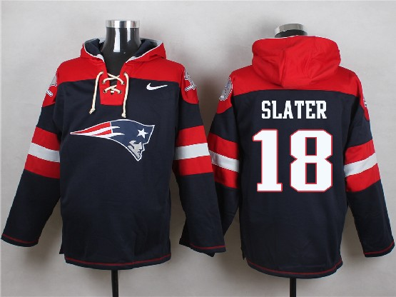 Mens Nfl New England Patriots #18 Slater Blue (new Single Color) Hoodie Jersey