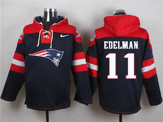 mens nfl New England Patriots #11 Julian Edelman blue (new single color) hoodie jersey