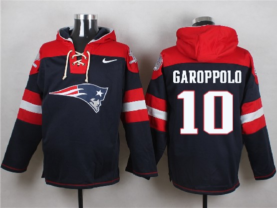 Mens Nfl New England Patriots #10 Garoppolo Blue (new Single Color) Hoodie Jersey