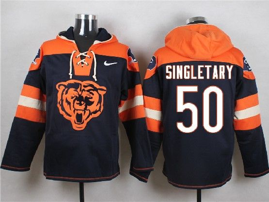 Mens Nfl Chicago Bears #50 Singletary Blue (new Single Color) Hoodie Jersey