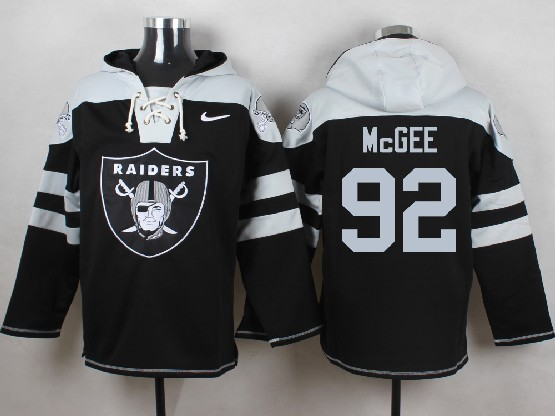 Mens nfl oakland raiders #92 mcgee black (new single color) hoodie Jersey