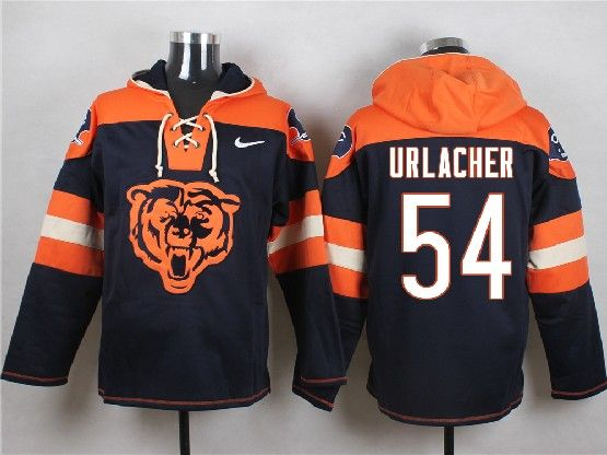 Mens Nfl Chicago Bears #54 Urlacher Blue (new Single Color) Hoodie Jersey