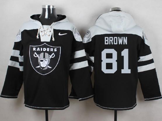 Mens nfl oakland raiders #81 brown black (new single color) hoodie Jersey