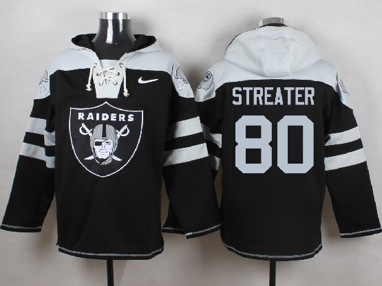 Mens nfl oakland raiders #80 streater black (new single color) hoodie Jersey