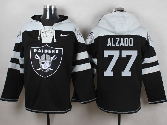 Mens nfl oakland raiders #77 alzado black (new single color) hoodie Jersey