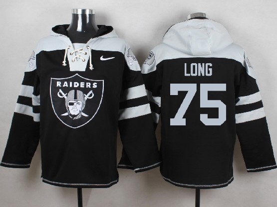 Mens nfl oakland raiders #75 long black (new single color) hoodie Jersey