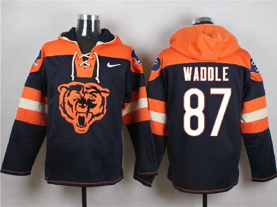 Mens Nfl Chicago Bears #87 Waddle Blue (new Single Color) Hoodie Jersey