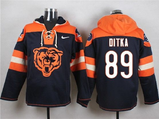 Mens Nfl Chicago Bears #89 Ditka Blue (new Single Color) Hoodie Jersey