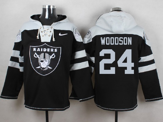 mens nfl Oakland Raiders #24 Charles Woodson black (new single color) hoodie jersey