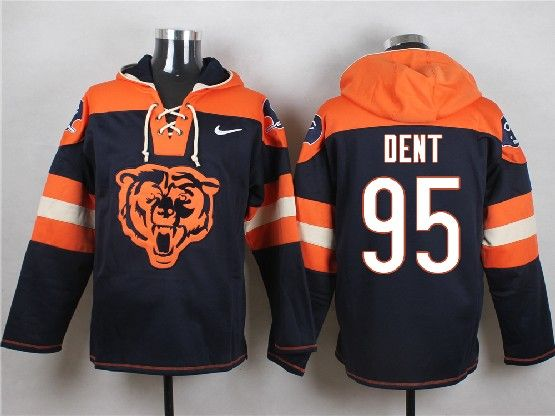 Mens Nfl Chicago Bears #95 Dent Blue (new Single Color) Hoodie Jersey